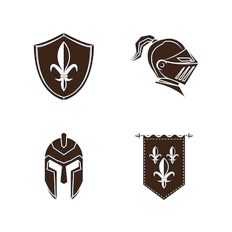 Ridder middeleeuwse geschiedenis vector pictogrammen instellen