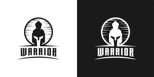 Ridder spartaans, krijger, gladiator helm hoofd logo ontwerp inspiratie
