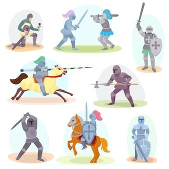 Ridder vector middeleeuwse ridderorde en ridderlijk karakter met helmpantser en ridderzwaard illustratie set ridderlijkheid man geïsoleerd op wit