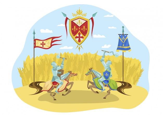 Ridderlijke toernooi, karakter ruiters paarden vechten, koninklijke competitie, geïsoleerd op wit, vlakke afbeelding. ridderlijk teken.