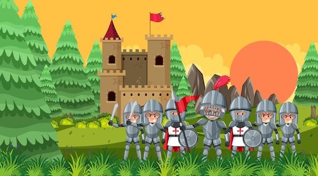 Ridders die het kasteel beschermen