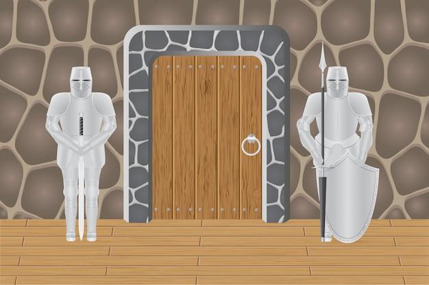 Ridders in kasteel bewaker deur