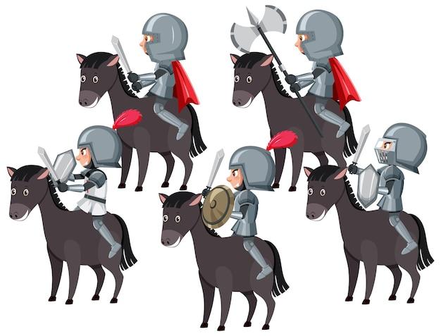 Ridders rijden paard op witte achtergrond