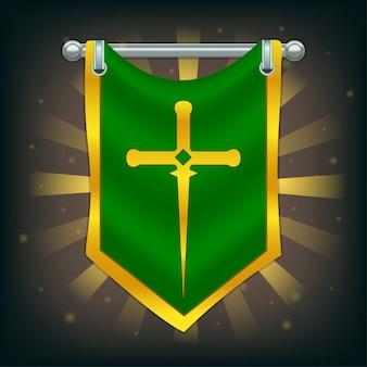 Riddervlag met zwaard op zilveren paal