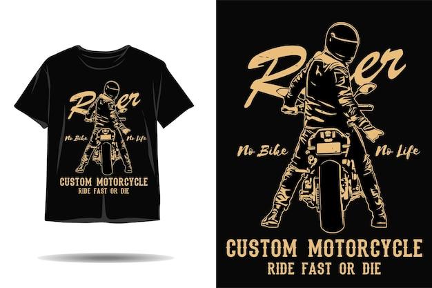 Rider geen fiets geen leven aangepaste motorfiets silhouet tshirt ontwerp