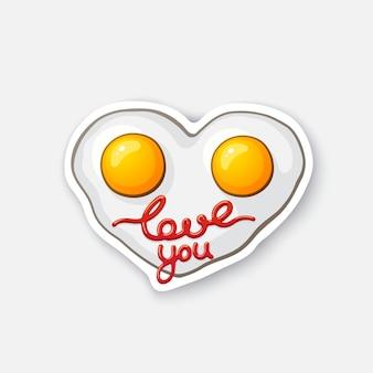 Ried eggs in hartvorm roerei gezonde voeding cartoon sticker vector illustratie