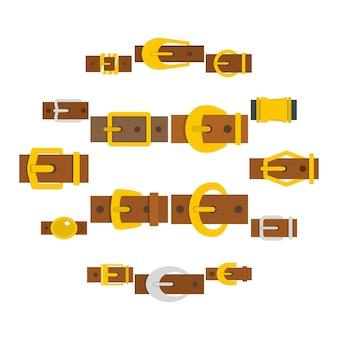 Riem gespen pictogrammen instellen in vlakke stijl