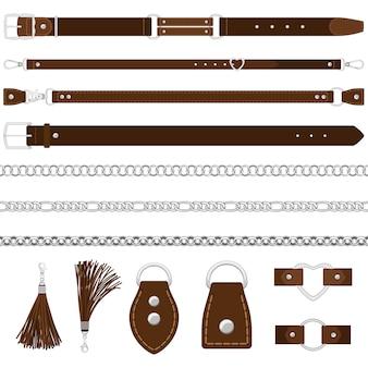 Riemen, zilveren kettingen, halsbanden
