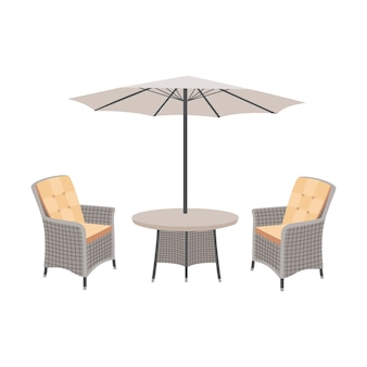 Rieten tuintafel en stoelen met parasol