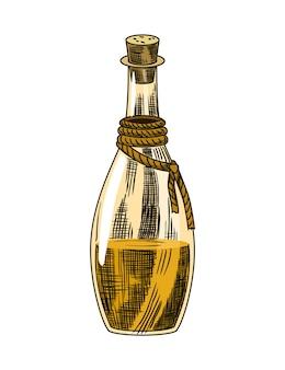 Rietsuiker. product van suikerrietplant. gravure met de hand getekend natuurlijk biologisch voedsel of natuurlijk ingrediënt. verse rietrum in fles.