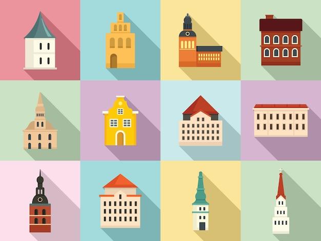 Riga iconen set, vlakke stijl