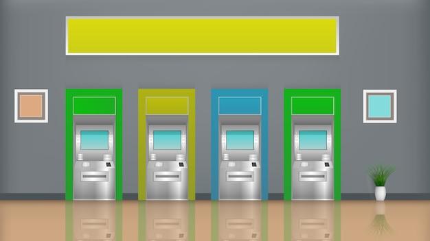 Rij van geldautomaten in de kamer.