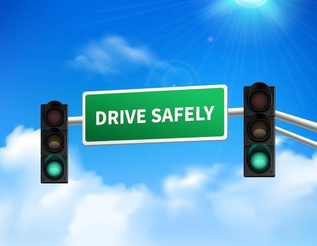 Rij veilig gedenkteken marker verkeersbord voor snelweg veiligheidsbewustzijn tegen blauwe hemel