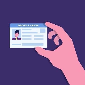 Rijbewijs van de auto in de hand met de identiteitskaart.