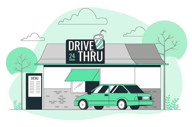 Rijd door concept illustratie