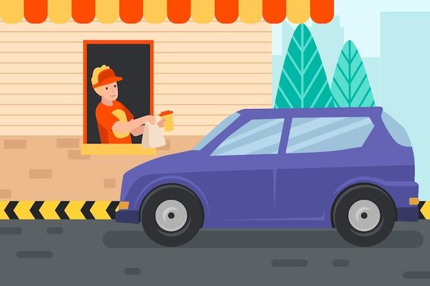 Rijd door raam illustratie met auto en werknemer