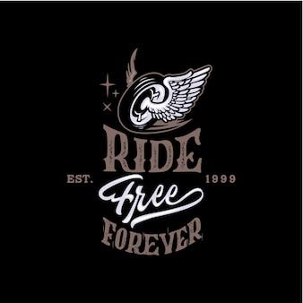 Rijd gratis voor altijd motorfiets belettering achtergrond