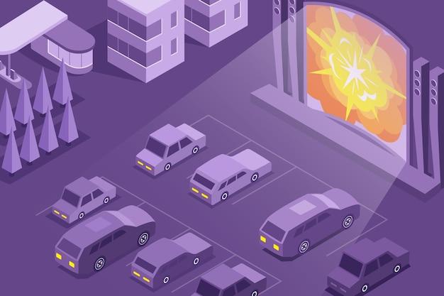 Rijd in de isometrische compositie van de openluchtbioscoop met een groot filmscherm voor buiten en een parkeerplaats