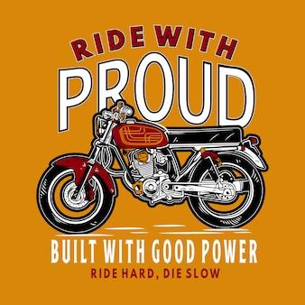 Rijd met trotse motorfietsillustratie