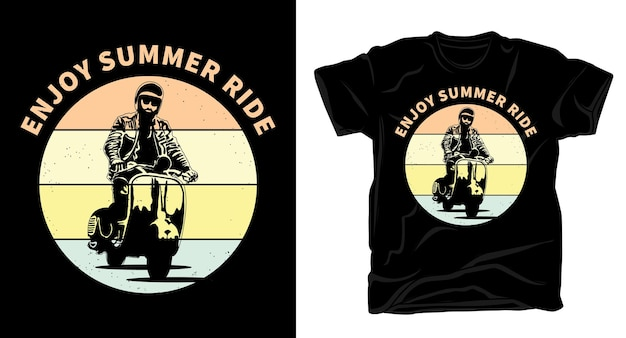 Rijden op klassieke scooter motorfiets retro vintage typografie t-shirt design