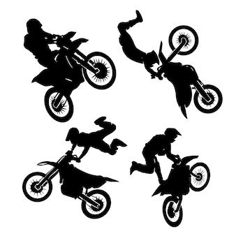 Rijder motocross ingesteld logo ontwerpen