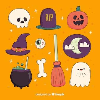 Rijen en kolommen van hand getrokken halloween-elementeninzameling