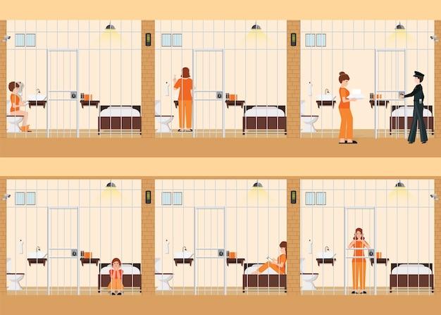 Rijen van gevangeniscellen met het leven van vrouwen in de gevangenis
