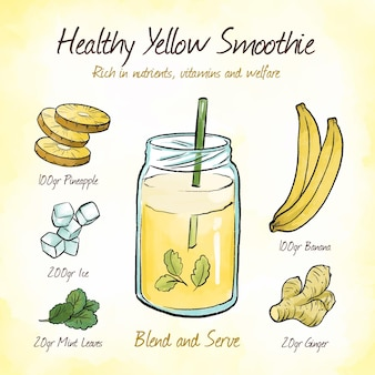 Rijk aan voedingsstoffen geel smoothie recept