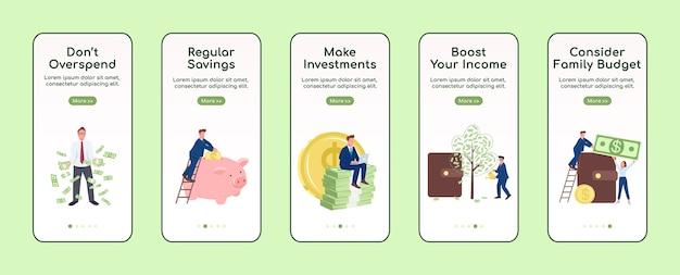 Rijk worden aan boord van mobiele app-scherm platte sjabloon. sparen en beleggen. doorloop website-stappen met tekens. ux, ui, gui cartoon-interface voor smartphones, set hoesjes