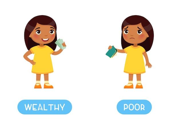 Rijkdom en arme antoniemen woordkaart tegenstellingen concept flashcard voor het leren van de engelse taal