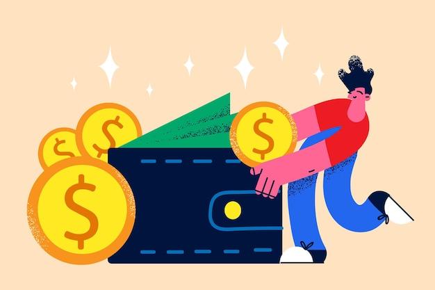 Rijkdom en geld in zakconcept