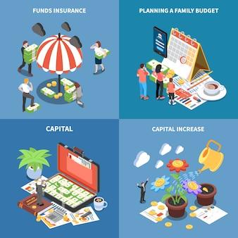 Rijkdom management isometrische concept met geld middelen fondsen verzekering planning budget kapitaalverhoging geïsoleerd