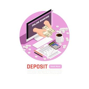 Rijkdomsbeheer isometrische illustratie met bewerkbare tekst en samenstelling van de munten van werkplekelementen en geldbankbiljetten