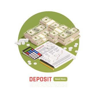 Rijkdomsbeheer isometrische illustratie met geldmunten en bankbiljetten met overeenkomst en bewerkbare tekst