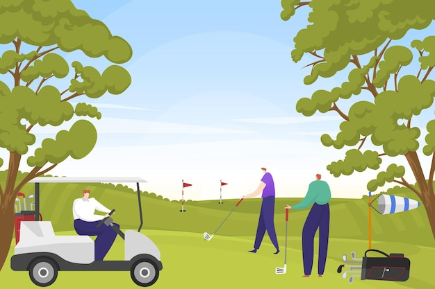 Rijke entertainmentmensen spelen samen golf