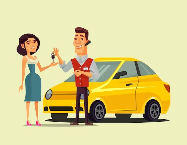 Rijke gelukkig lachende vrouw karakter kopen auto en verkoper manager man die sleutel geeft aan haar transport verkoop retail geïsoleerde vectorillustratie