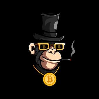 Rijke gorilla die een bitcoin-ketting draagt tijdens het roken