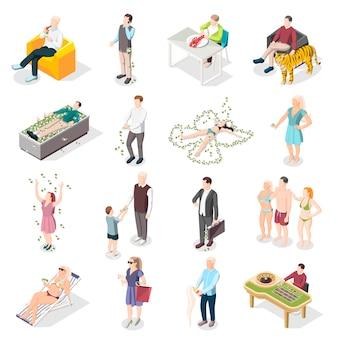 Rijke mensen en rijke leven isometrische pictogrammen