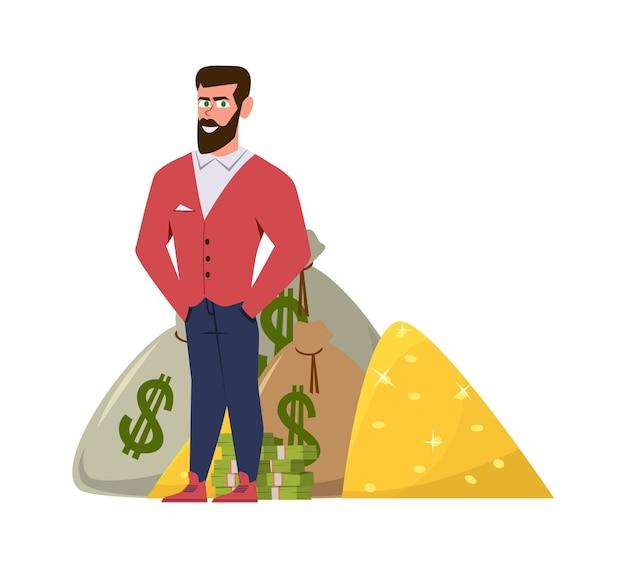 Rijke miljonair. ontspannen zakenman of rijke ondernemer in pak met winstgeld plat concept