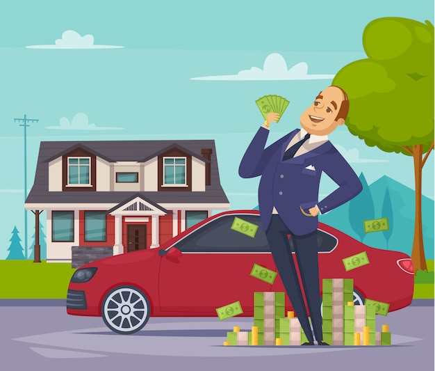 Rijke zakenman cartoon scène