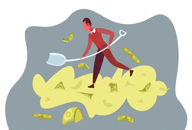 Rijke zakenman gravende stapel geld