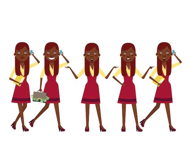 Rijke zwarte meid bij het winkelen karakter ingesteld met verschillende poses