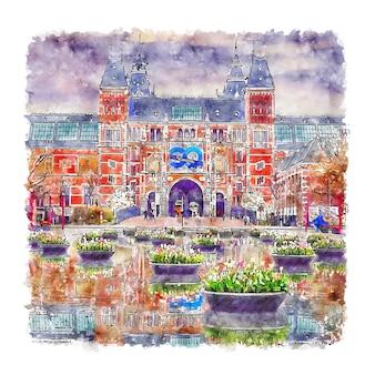 Rijksmuseum amsterdam aquarel schets hand getekende illustratie