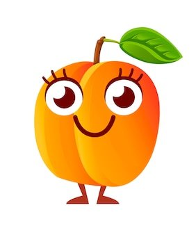 Rijp sap perzik, karakter. perzik met groen blad. gelukkig mascotte.