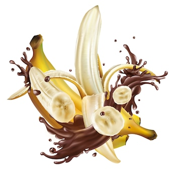 Rijpe bananen en spatten van vloeibare chocolade.