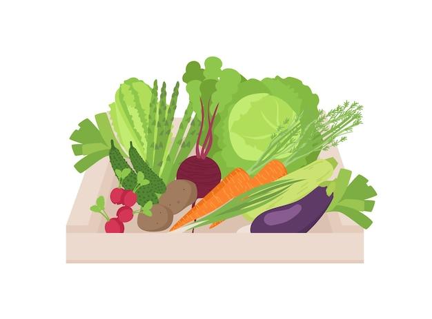 Rijpe biologische groenten in houten doos die op witte achtergrond wordt geïsoleerd. verzamelde natuurlijke gewassen in krat