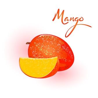 Rijpe hele mango en plakje tropisch steenfruit