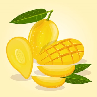 Rijpe mango's zijn geel in verschillende vormen