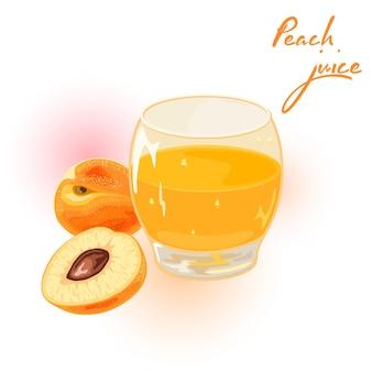 Rijpe perziken, heel en opengesneden, staan in de buurt van een glas sap