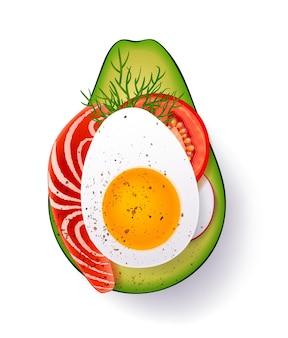 Rijpe plak avocado met gekookt ei, tomaat en kruiden